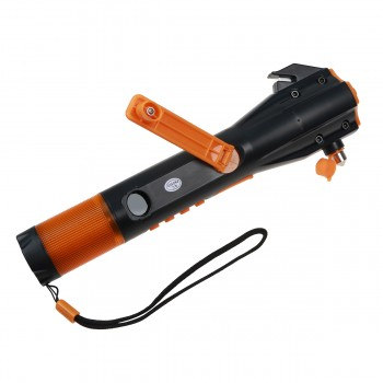 Ideapro Emergency LED Flashlight Rechargeable Hand Crank Lamp USB Cell Phone Charger Window Breaker Seat Belt Cutter Compass Radio Waterproof Emergency Tool For Auto Camping Hunting Fishing