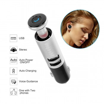 Car Charger Bluetooth Headset, 2 in 1 Dual USB Port Car Charger with Wireless Earphone and Hands Free Microphone for iPhone, Samsung and all Android Smartphones (Q9)