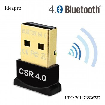 Ideapro USB Bluetooth 4.0 Low Energy Micro Adapter (Windows 10, 8.1, 8, 7, Raspberry Pi, Linux Compatible; Classic Bluetooth, and Stereo Headset Compatible)