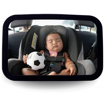 Griffin Baby - Back Seat Baby Mirror - Adjustable Baby Safety Mirror for Rear Facing Infant Car Seats Lightweight Heavy-Duty Plastic Construction Extra Large View Big and Clear Convex Shatterproof Mirror
