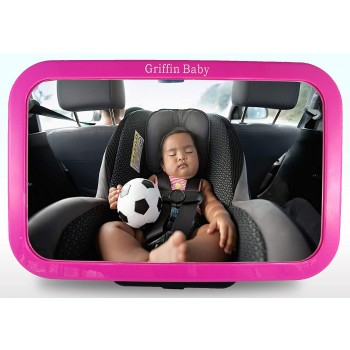 Griffin Baby - Backseat Baby Mirror - Pink - Adjustable Baby Safety Mirror for Rear Facing Infant Car Seats - Largest Clearest Best Optics